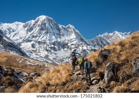 Trekking in Annapurna region, with Annapurna South in background, Nepal - stock photo