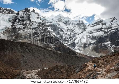 Trekking in Everest region, Himalayas of Nepal  - stock photo