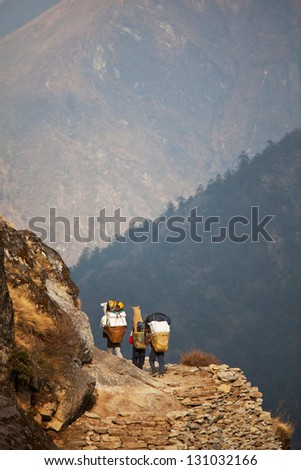 Trekking in Sagarmatha region,Himalaya - stock photo