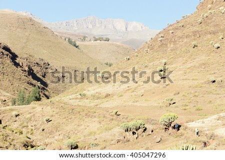 Trekking in Simien mountains, Ethiopia - stock photo