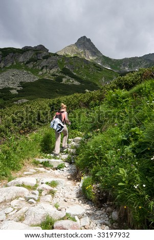 Trekking in Tatra Mountains. Trail to Rysy peak