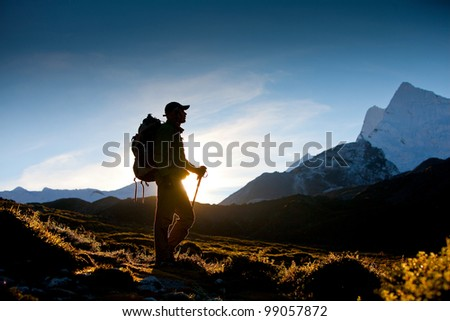 Trekking in the Himalayas - stock photo