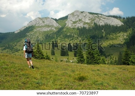 Trekking in the mountains. Vladeasa, Romania