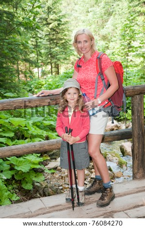 Trekking - little girl with mother on mountain trek