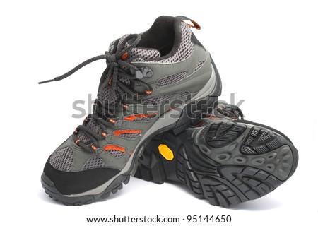 trekking shoe- boots isolated white. - stock photo