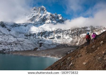 Trekking to Renjo pass, Everest region, Nepal - stock photo