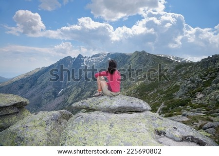 trekking woman at Gredos mountains in Avila Spain