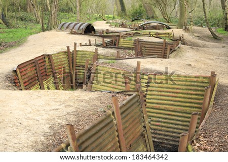 Trenches in Flanders Fields Ypres great world war one Hill 62 - stock photo