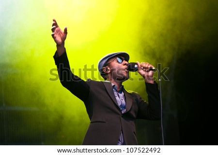 TRENCIN,SLOVAKIA - JULY 6: Aloe Blacc performs at the Bazant Pohoda Music Festival at the Trencin Airport in Trencin, Slovakia on July 6, 2012.