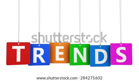 Trends sign and word on colorful hanged tags isolated on white background. - stock photo
