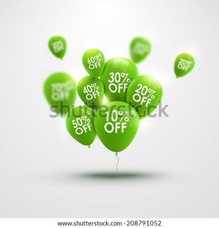 Trendy beautiful background with green baloons and discounts - stock photo