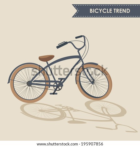 Trendy bike with rotated handlebar and oblique shadow on beige background isolated. Contains EPS10 and high-resolution JPEG. Text is outlined