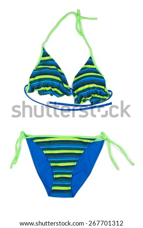 Trendy blue striped swimsuit. Isolate on white. - stock photo