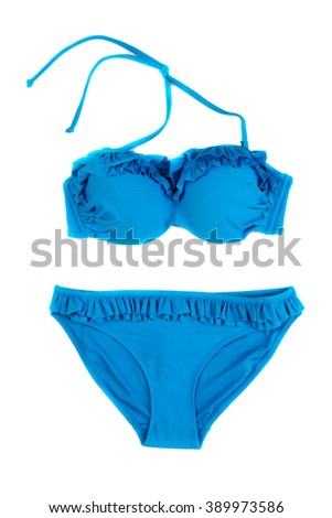 Trendy blue swimsuit. Isolate on white. - stock photo
