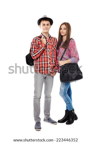 Trendy casual teenagers students isolated on white background - stock photo