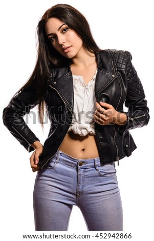 trendy charming woman with black hair posing on a white background - stock photo