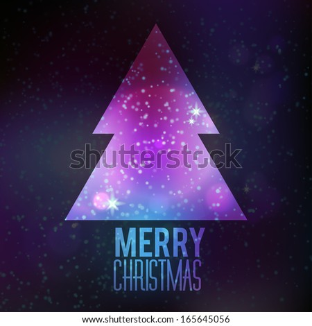 Trendy Christmas card with cosmos and fir