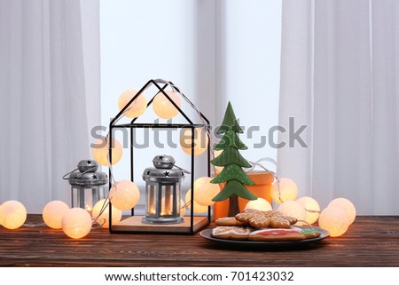 Trendy Christmas interior decorations on table