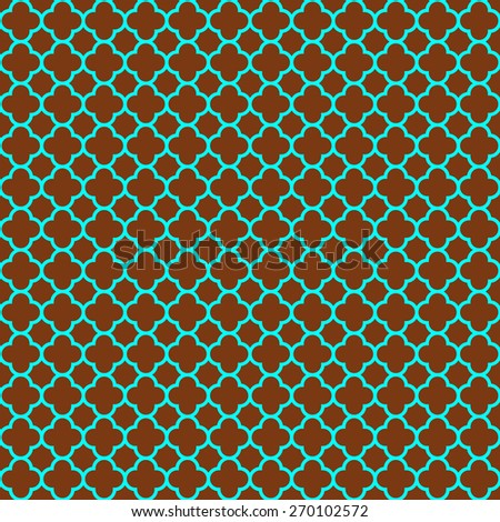 Trendy cloverleaf quatrefoil lattice pattern with turquoise blue lattice on a brown background. This is a seamlessly repeating pattern background. - stock photo