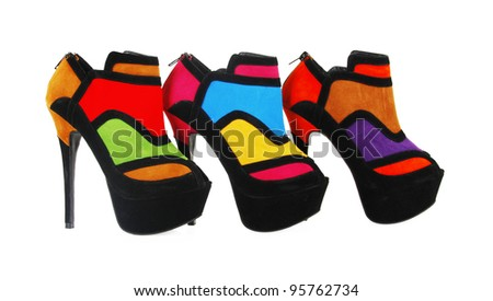 trendy colorful heels isolated on white - stock photo