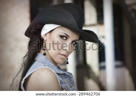 trendy cool young girl - stock photo