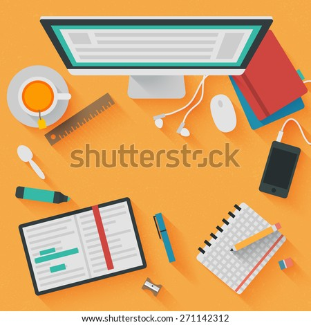 Trendy Flat Design Illustration: Education workplace. Icons set of business and educational work flow items, elements and gadgets - stock photo