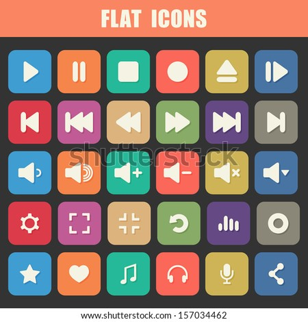 Trendy Flat Media Player Icons Set. Multimedia. Raster version