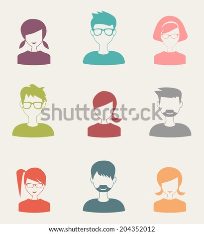 trendy flat people icons set 3 - stock photo