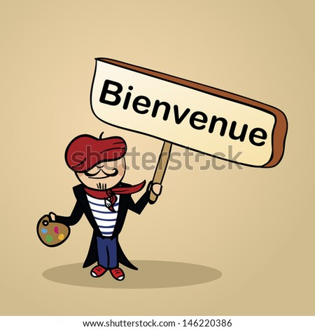 Trendy french man says welcome holding a wooden sign sketch. - stock photo