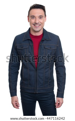 Trendy handsome young man wearing denim jacket. isolated on white background - stock photo
