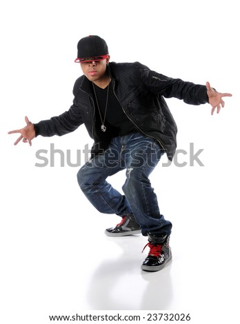 Trendy hip hop man performing a dance - stock photo