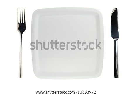 trendy isolated white plate with knife and fork - stock photo