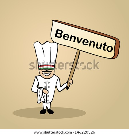 Trendy italian man says welcome holding a wooden sign sketch. - stock photo