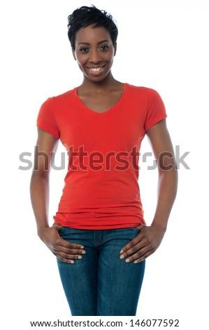 Trendy latin woman posing casually - stock photo
