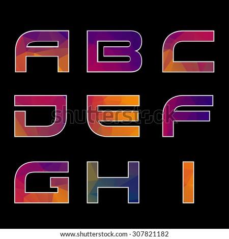 Trendy multicolored Geometric Alphabet. Illustration. EPS - stock photo