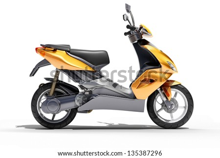 Trendy orange scooter close up on a light background - stock photo