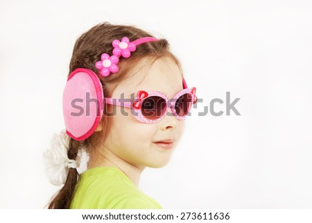 Trendy smiling cute little girl with sunglasses - stock photo