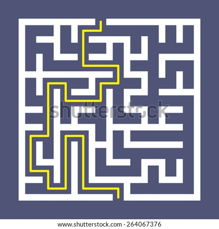 trendy square labyrinth isolated on purple background