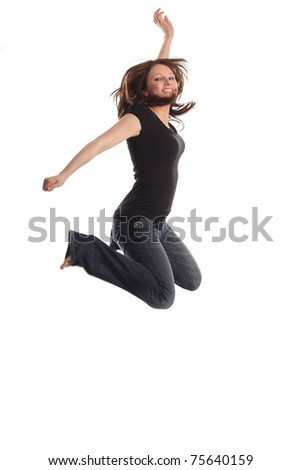 Trendy teen jumping - stock photo