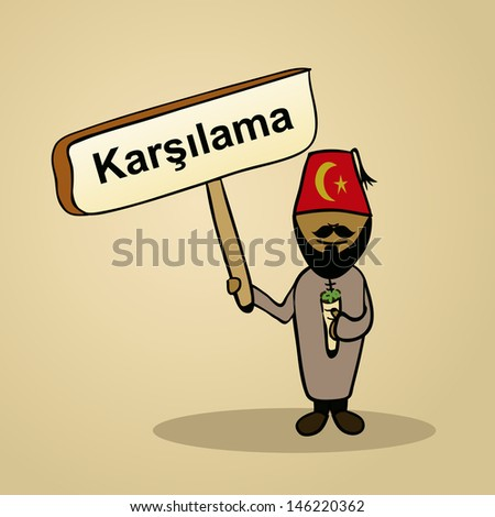Trendy turkish man says welcome holding a wooden sign sketch. - stock photo
