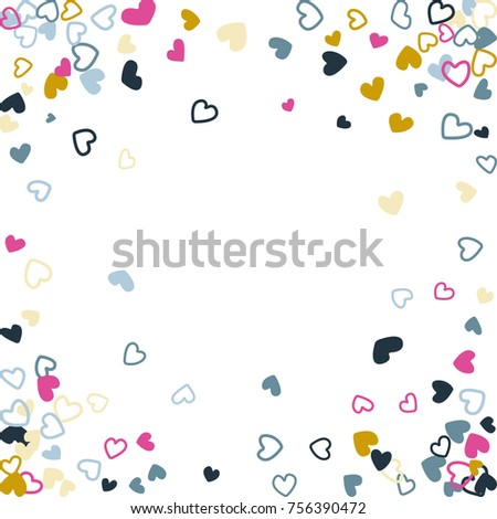 trendy wedding invitation template border image flying hearts border confetti with place for text
