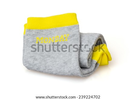 Trendy wool socks with inscription MONDAY isolated on a white background. - stock photo
