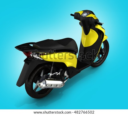 Trendy yellow scooter on blue gradient background 3d