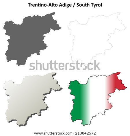 Trentino-Alto Adige blank detailed outline map set - jpeg version - stock photo