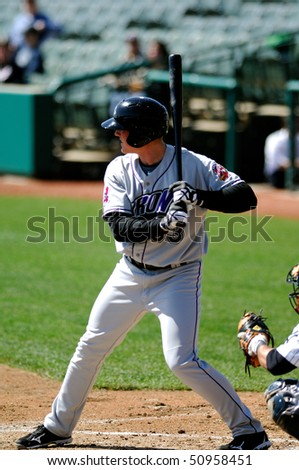 TRENTON, NJ - APRIL 14: Akron Aeros outfielder Nick Weglarz stands in the batters box during a game on April 14, 2010 in Trenton, NJ