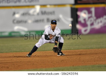 TRENTON, NJ - APRIL 4: Trenton Thunder shortstop Ali Castillo (4) prepares to field a grounder during the Thunder home opener April 4, 2014 in Trenton, NJ.