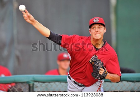 TRENTON, NJ - AUGUST 21: Altoona Curve starting pitcher Jameson Taillon, a Pirates top prospect, warms up in the bullpen prior to the Eastern League baseball game August 21, 2012 in Trenton, NJ.