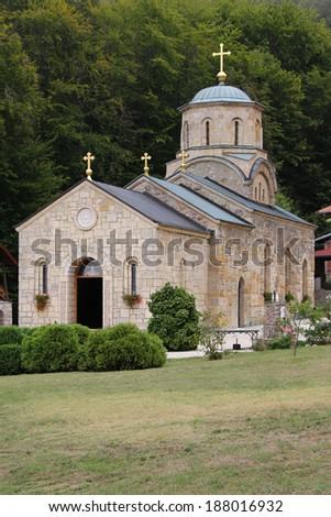 Tresije Monastery, a Serbian Orthodox monastery in Serbia. - stock photo