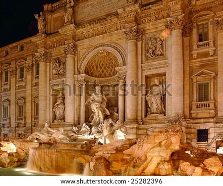Trevi Fountain at night, Roma, Italy - stock photo