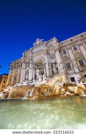 Trevi Fountain (Fontana di Trevi). Rome - Italy.  - stock photo